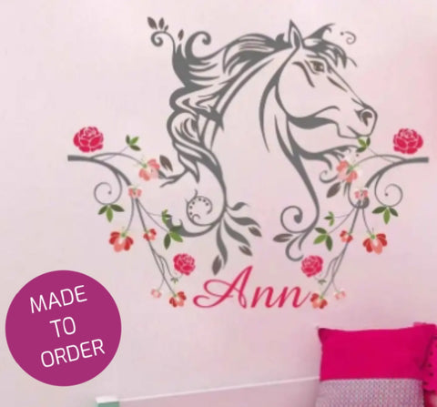 Floral Horse and Name Wall Sticker