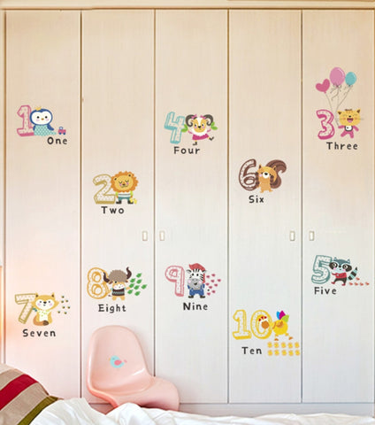 Animal numbers wall sticker