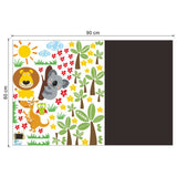 Animals and Blackboard Wall Sticker Size