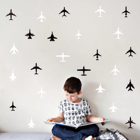 Black and white airplanes wall sticker