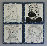 Blue Animal Friends Wooden Blocks Set