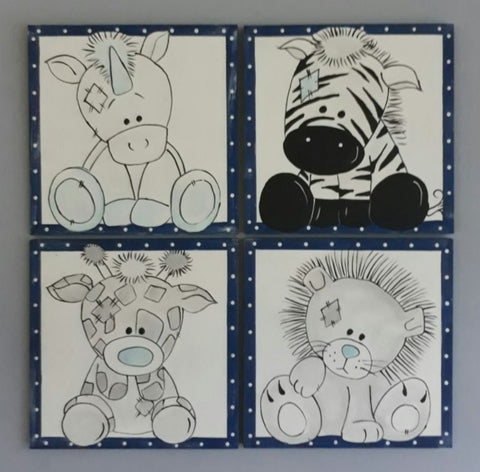 Blue Animal Friends Canvas Set