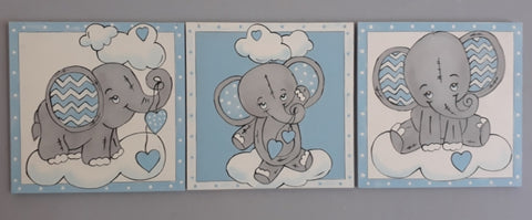 Blue Ellies Trio Canvas Set