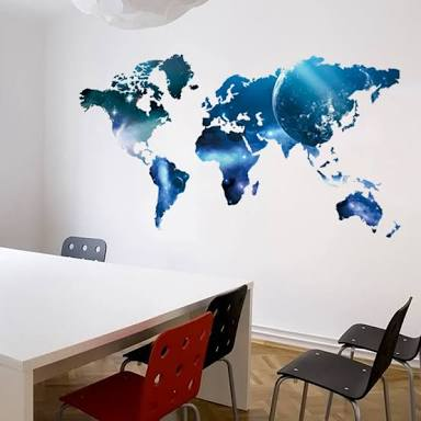 Blue World Map Wall Sticker