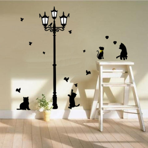Cats and Lamp Post Wall Sticker