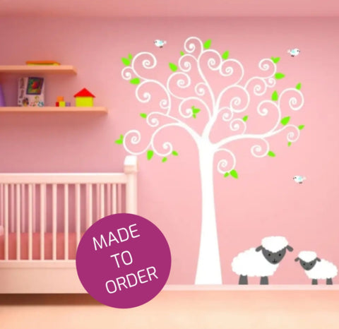 Curly Tree and Sheep Wall Sticker