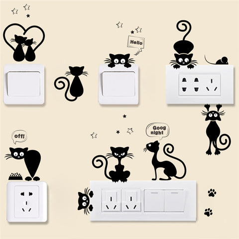 Light switch cats wall sticker