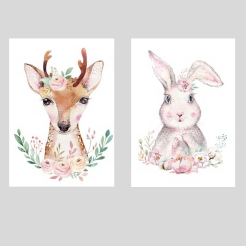 Deer and Bunny Printed Canvas