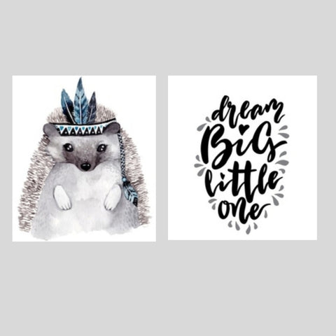 Dream Big Hedgehog Printed Canvas