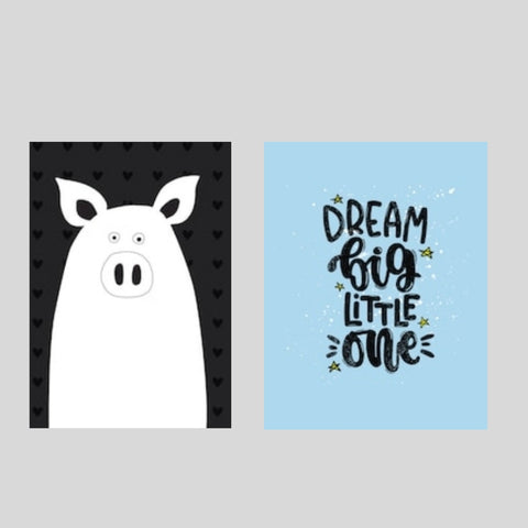 Dream Big Pig Printed Canvas