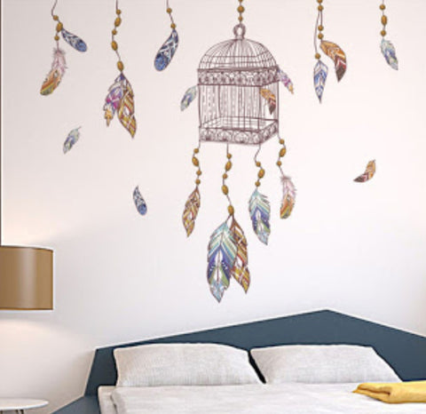 Birdcage Dream Catcher Wall Sticker