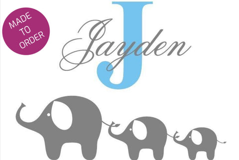 Elephants and Name Wall Sticker