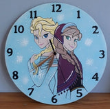 Elsa and Anna Wooden Clock