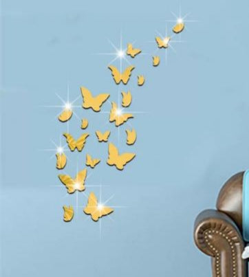 Gold Butterflies Mirror Wall Sticker