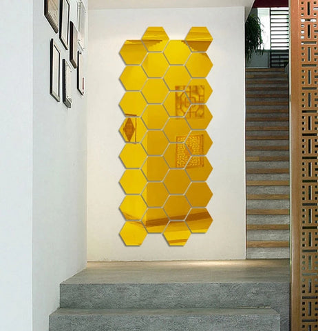 Gold Hexagons Mirror