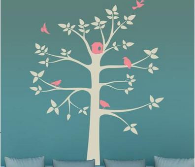 Grey Tree and Pink Birds Wall Sticker