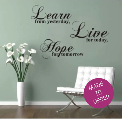 Lear Live Hope Wall Sticker