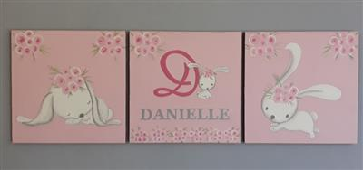 Name and Bunnies Canvas Set