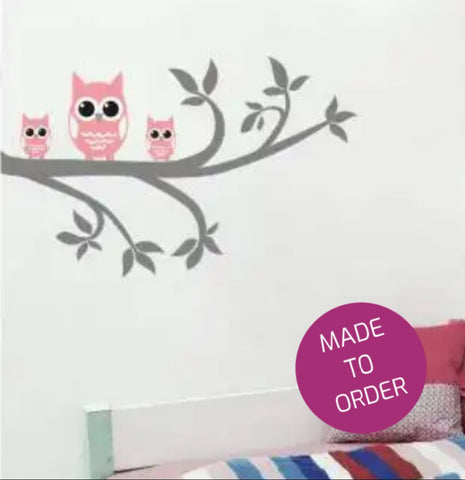 Owl Family on Branch Wall Sticker
