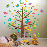 Colourful owl and birds on tree wall sticker