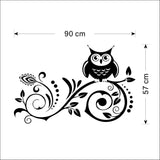 Owl on Scroll Wall Sticker Size