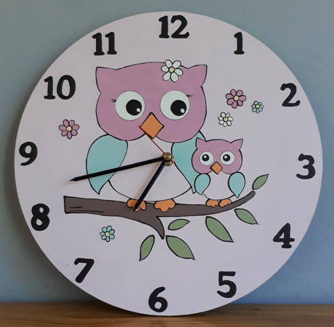 Owls Wooden Clock