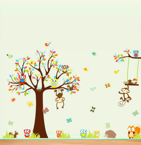 Owls and Monkeys Tree Wall Sticker