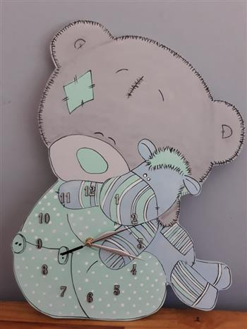 Pink Teddy Wooden Clock
