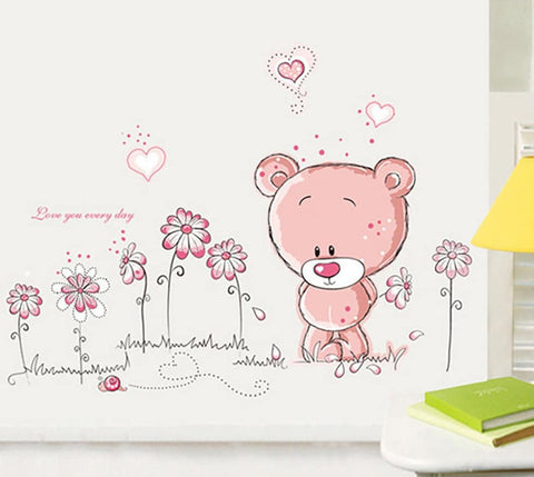 Pink Teddy Wall Sticker