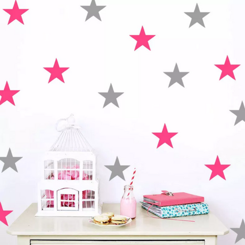 Pink and Gret Stars Wall Sticker