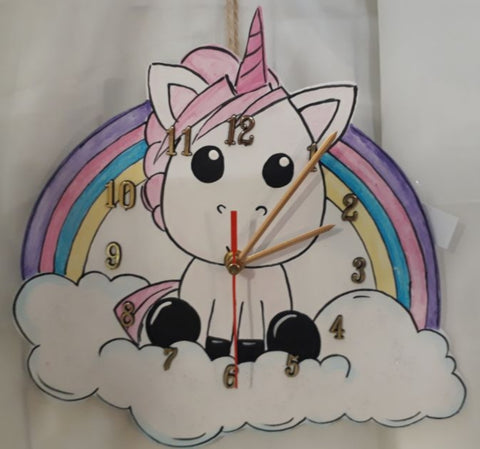 Unicorn Rainbow Wooden Clock