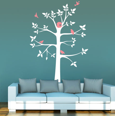 White Tree with Pink Birds