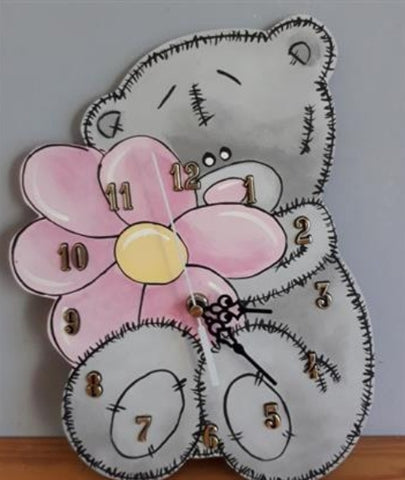 Teddy and Flower Wooden Clock