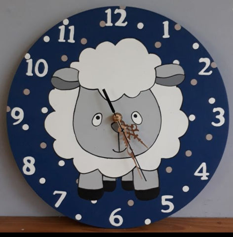 Sheep on navy wooden clock