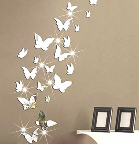 Silver Butterflies Mirror Wall Sticker