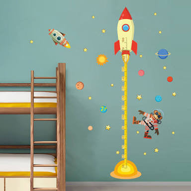 Space Rocket Growth Chart Wall Sticker