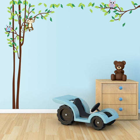 Tall tree with monkey and owls wall sticker