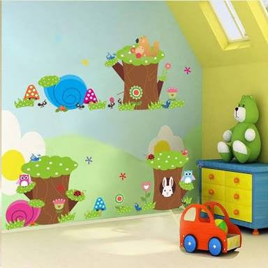 Tree Trunks and Animals Wall Sticker