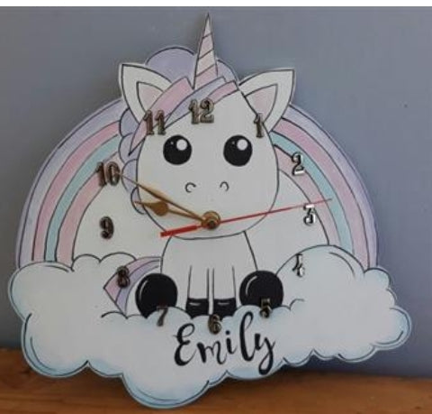 Unicorand and Name Wooden Clock