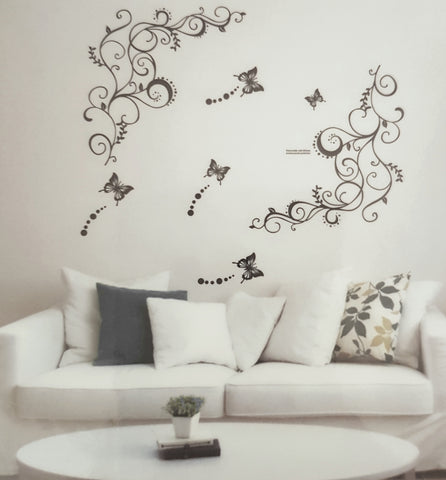 Vines and Butterflies Wall Sticker