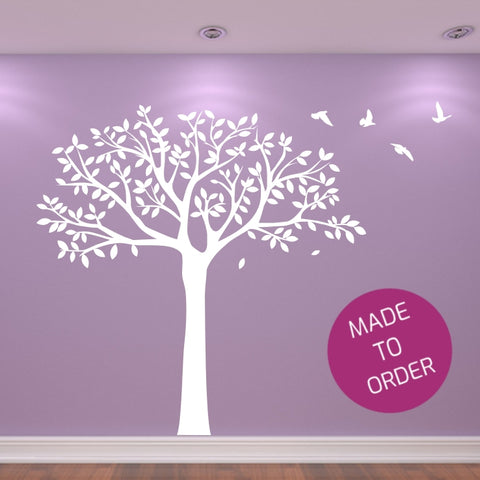 White Tree With Birds Wall Sticker