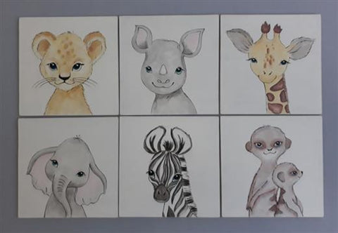 Baby Wild Animals Canvas Set