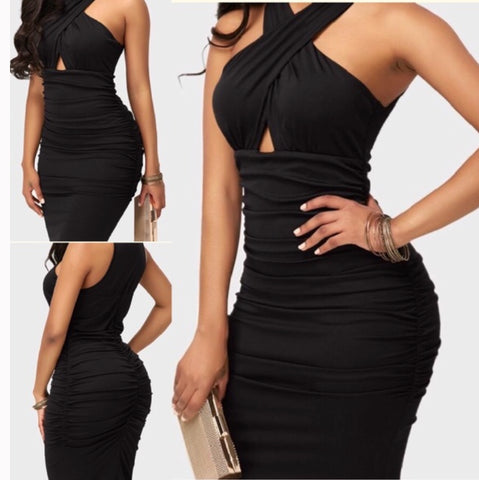 Sleeveless High Waist Black Ruched Sheath Dress