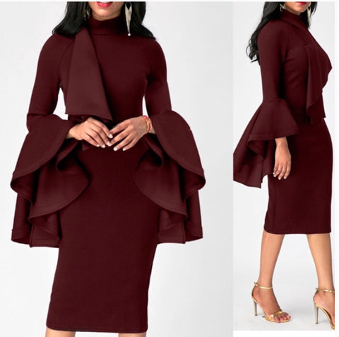Flare Sleeve Mock Neck Burgundy Sheath Dress