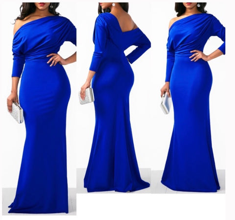 Elegant Blue Backless Skew Neck One Shoulder Solid Mermaid Dress