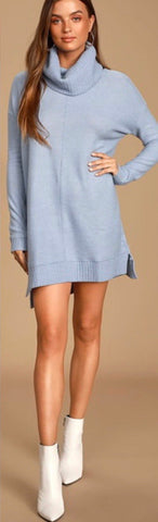 Light Blue Cowl Neck Long Sleeve Sweater Dress