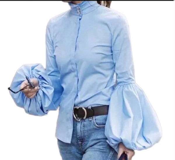 Long Wide Lantern Sleeve Blue Blouse
