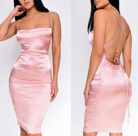 Sexy Pretty Pink Open Back Strap Silk Satin Dress