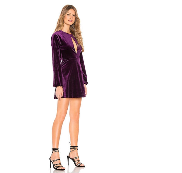 Rich plum illuminates the Lovers + Friends Nettie Velvet Mini Dress