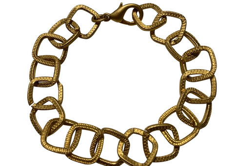 14K Gold Plated Matte Finish Square Loop Link Bracelet